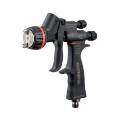 Pistola pulverizadora y accesorios para el repintado de automóviles.